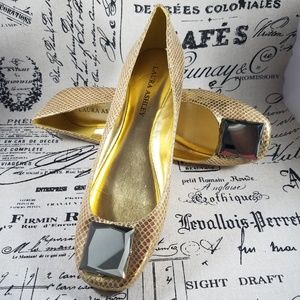 Laura Ashley La-Aden Gold Ballet Flats Size 8.5B